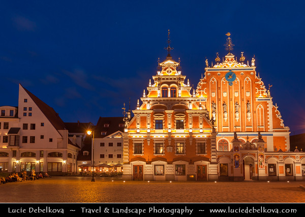 Europe - Latvia - Riga - Rīga - Capital and largest city of Latvia - Riga's historical centre - UNESCO World Heritage Site - House of the Brotherhood of Blackheads at Dusk - Twilight - Blue Hour