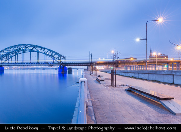 Europe - Latvia - Riga - Rīga - Capital and largest city of Latvia - Riga's historical centre - UNESCO World Heritage Site - Railway Bridge - Dzelzcela Tilts - New bridge that crosses Daugava river