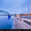 Europe - Latvia - Riga - Rīga - Capital and largest city of Latvia - Riga's historical centre - UNESCO World Heritage Site - Railway Bridge - Dzelzcela Tilts - New bridge that crosses Daugava river