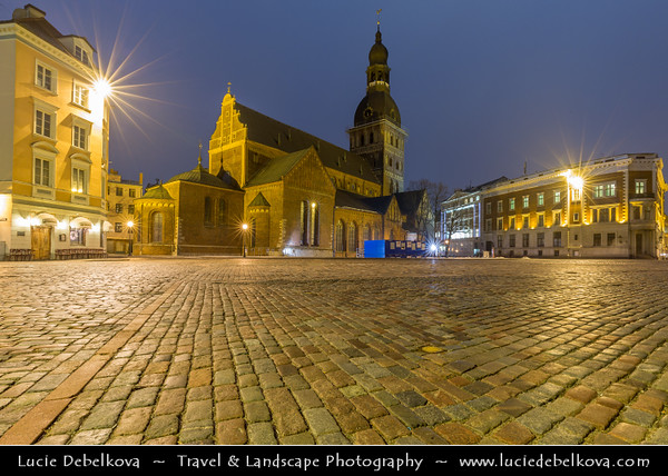 Europe - Latvia - Riga - Rīga - Capital and largest city of Latvia - Riga's historical centre - UNESCO World Heritage Site - Riga Cathedral - Rīgas Doms - Evangelical Lutheran cathedral & one of the most recognizable landmarks in Latvia at Dusk - Twilight - Blue Hour - Night