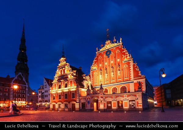 Europe - Latvia - Riga - Rīga - Capital and largest city of Latvia - Riga's historical centre - UNESCO World Heritage Site - House of the Brotherhood of Blackheads at Dusk - Twilight - Blue Hour