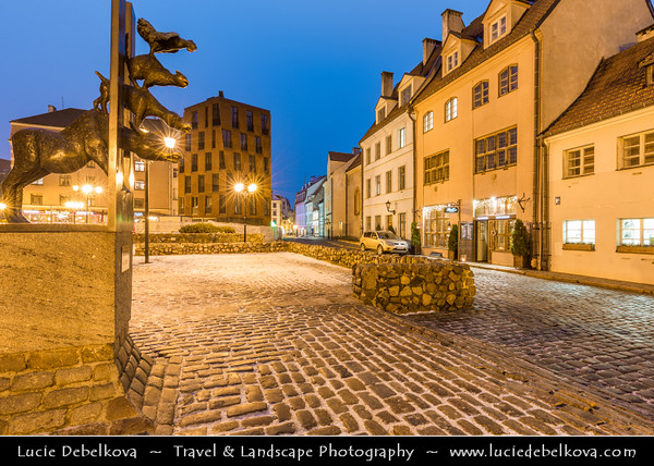 Europe - Latvia - Riga - Rīga - Capital and largest city of Latvia - Riga's historical centre - UNESCO World Heritage Site - Sculpture of Bremen Town Musicians - One of the most popular monuments in the Riga