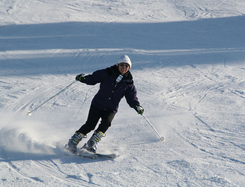 Judy, enjoying the Swiss packed powder snow.