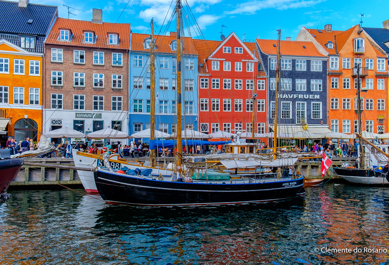 Colourful houses line the Nyhavn  canal in Copenhagen, Denmark