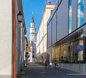 A view of the Town Hall spire in Kaunas, Lithuania