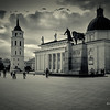 Cathedral with Bell Tower and Gediminas statue Square in Vilnius, Lithuania