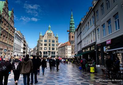 Stroget is a pedestrian, car free shopping area in Copenhagen,Denmark