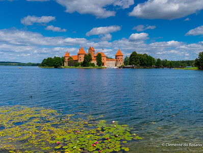 Island Castle located in Trakai in Lithuania on an island in Lake Galve