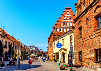 Cobbled Street in the center of Kaunas, Lithuania