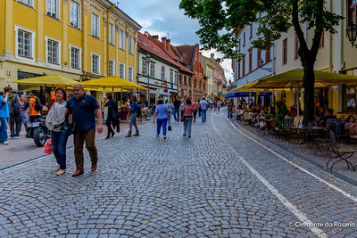 Street with sidewalk cafes in Villnius, Lithuania