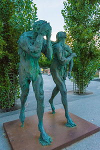 Modern statues near the Butcher's Bridge of Adam and Eve by Jakov Brdar.