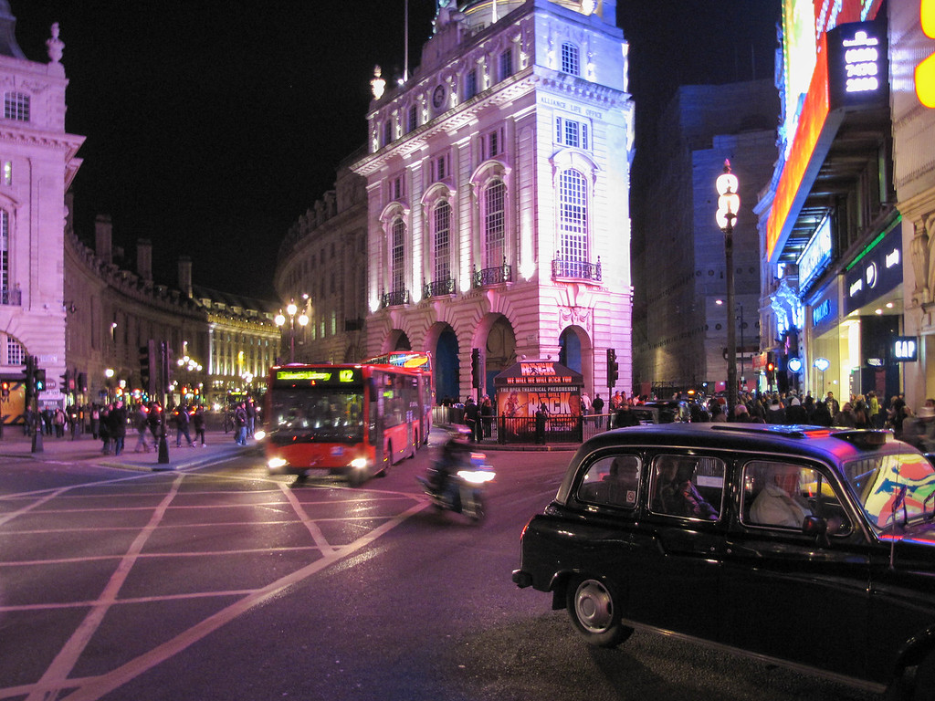 Piccadilly Circus at night.