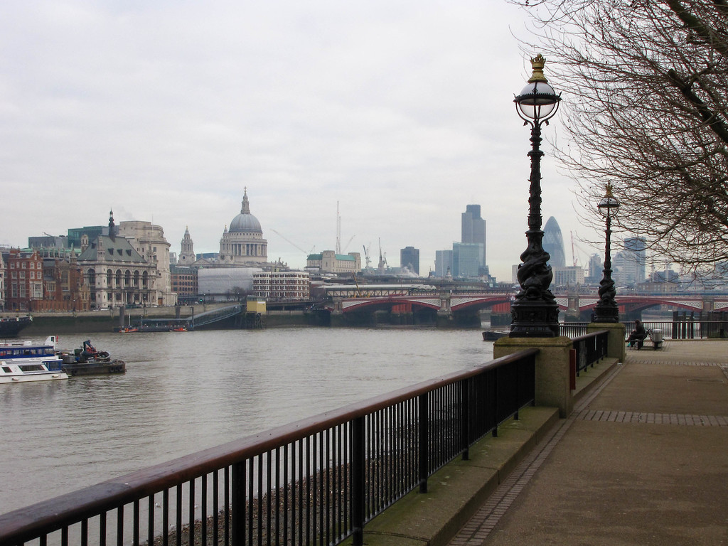 Walking along the south bank of the Thames on a Saturday morning from County Hall to the Tower Bridge.
