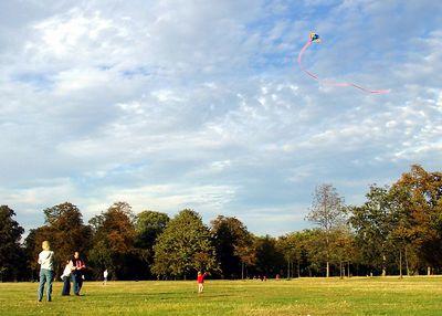 Family in Hyde Paark flying kite