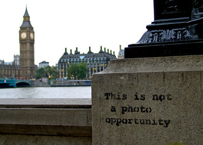 This is not a photo opportunity Banksy Graffiti Westminster, London