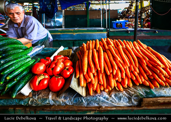 Europe - Macedonia - Skopje - Скопје - Historical City Center - Old Bazaar - Стара чаршија - Stara čaršija - One of oldest & largest marketplaces in Balkans - Traditional market with local products - vegetables, carrots, tomatos, cucumber