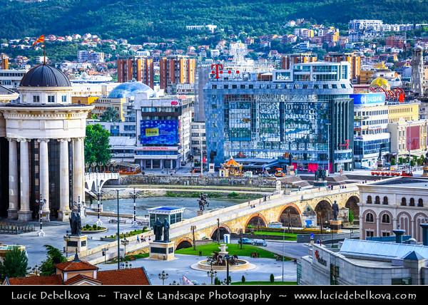 Europe - Macedonia - Skopje - Скопје - City Center along Vardar River with many new Neoclassical buildings and Stone Bridge - Камен мост - Kamen Most -  Dušan Bridge - Symbol of Skopje & main element of coat of arms of city