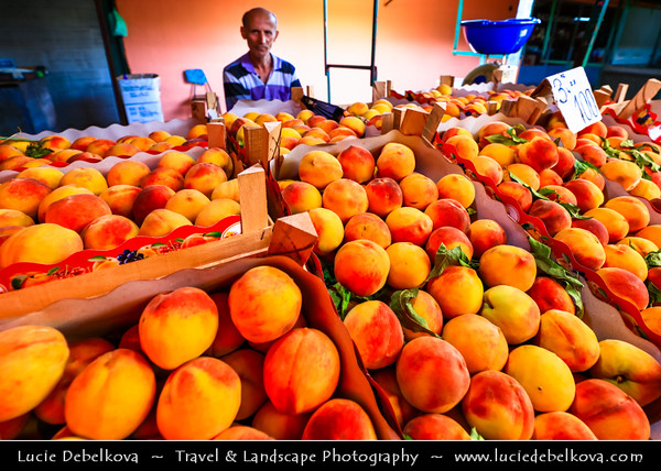 Europe - Macedonia - Skopje - Скопје - Historical City Center - Old Bazaar - Стара чаршија - Stara čaršija - One of oldest & largest marketplaces in Balkans - Traditional market with local products & fruit - peach