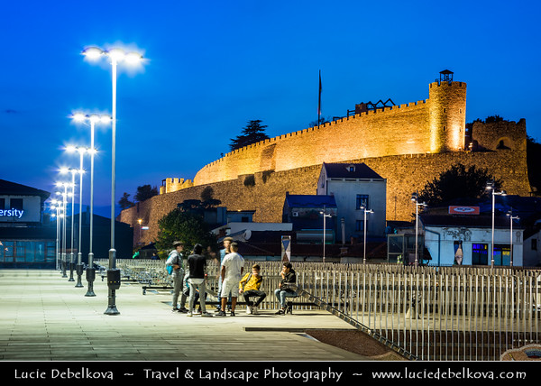 Europe - Macedonia - Skopje - Скопје - Historical City Center - Old town - Skopje Fortress - Скопско Кале - Skopsko Kale - Kale - Historic fortified fortress situated on highest point in city overlooking the Vardar River - Dusk - Twilight - Blue Hour - Night