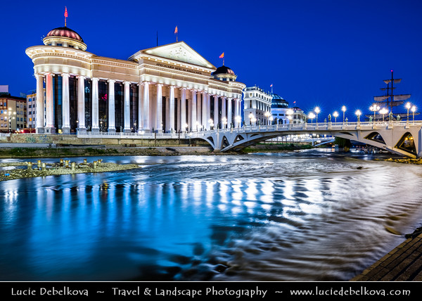 Europe - Macedonia - Skopje - Скопје - City Center along Vardar River - National Archaeological Museum of Macedonia - Археолошки Музеј на Македонија - New Neoclassical building with tall columns & huge glass windows connected to popular Macedonia Square via splendid Bridge of Civilizations