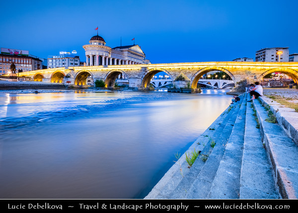 Europe - Macedonia - Skopje - Скопје - City Center along Vardar River - Stone Bridge - Камен мост - Kamen Most -  Dušan Bridge - Symbol of Skopje & main element of coat of arms of city - Dusk - Twilight - Blue Hour