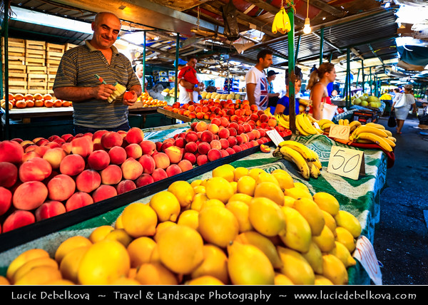 Europe - Macedonia - Skopje - Скопје - Historical City Center - Old Bazaar - Стара чаршија - Stara čaršija - One of oldest & largest marketplaces in Balkans - Traditional market with local products & fruit - peach & lemon