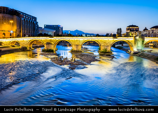 Europe - Macedonia - Skopje - Скопје - City Center along Vardar River - Stone Bridge - Камен мост - Kamen Most -  Dušan Bridge - Symbol of Skopje & main element of coat of arms of city