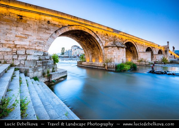 Europe - Macedonia - Skopje - Скопје - City Center along Vardar River - Stone Bridge - Камен мост - Kamen Most -  Dušan Bridge - Symbol of Skopje & main element of coat of arms of city - Dusk - Twilight - Blue Hour
