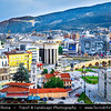Europe - Macedonia - Skopje - Скопје - City Center along Vardar River with many new Neoclassical buildings and Stone Bridge - Камен мост - Kamen Most -  Dušan Bridge - Symbol of Skopje & main element of coat of arms of city