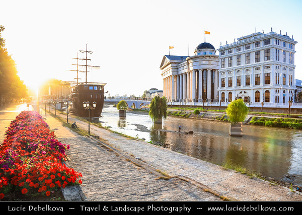 Europe - Macedonia - Skopje - Скопје - City Center along Vardar River with many new Neoclassical buildings and pirates ships