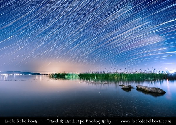 Europe - Macedonia - Ohrid Lake - Охридско Езеро - Ohridsko Ezero - UNESCO World Heritage Site - One of Europe's deepest & oldest lakes - Largest & most beautiful out of Macedonia's three tectonic lakes - Night Sky with Stars & Milky Way