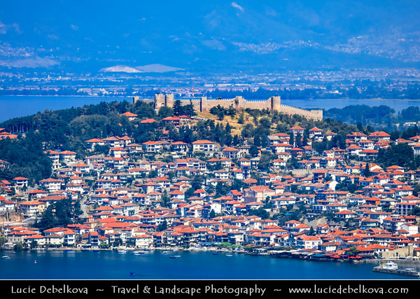 Europe - Macedonia - Ohrid - Historical town on shores of Lake Ohrid (Охридско Езеро, Ohridsko Ezero) - UNESCO Cultural & Natural World Heritage Site - Panorama of Old Town dominated by King Samoil Fortress - Tsar Samuel's Fortress - Самуилова тврдина - One of most visited tourist sites in Ohrid