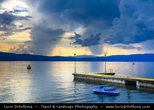 Europe - Macedonia - Ohrid Lake - Охридско Езеро - Ohridsko Ezero - UNESCO World Heritage Site - One of Europe's deepest & oldest lakes - Largest & most beautiful out of Macedonia's three tectonic lakes - Lake pier during sunset