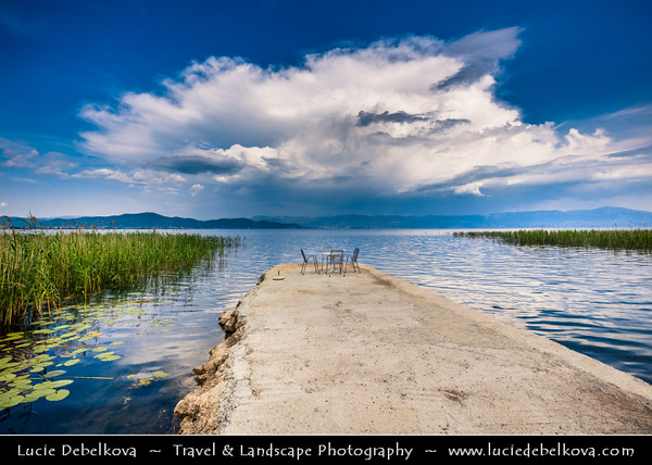 Europe - Macedonia - Ohrid Lake - Охридско Езеро - Ohridsko Ezero - UNESCO World Heritage Site - One of Europe's deepest & oldest lakes - Largest & most beautiful out of Macedonia's three tectonic lakes - Stormy weather with large cloud during late afternoon along lake shore