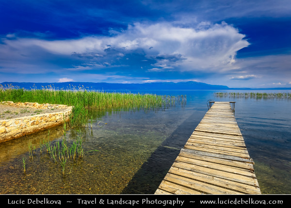 Europe - Macedonia - Ohrid Lake - Охридско Езеро - Ohridsko Ezero - UNESCO World Heritage Site - One of Europe's deepest & oldest lakes - Largest & most beautiful out of Macedonia's three tectonic lakes - Crystal clear water with long wooden lake pier