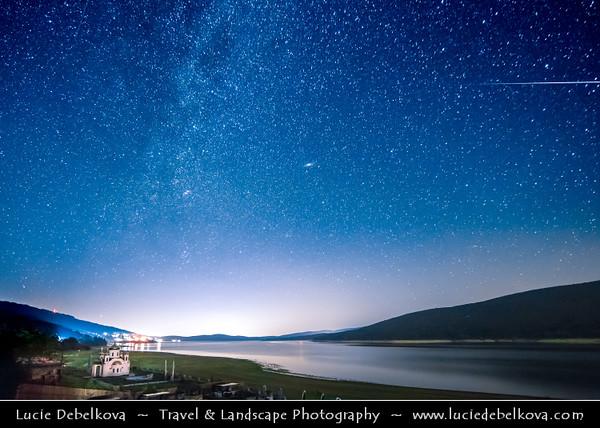 Europe - Macedonia - Mavrovo National Park - Национален парк Маврово - Mavrovo Lake - Мавровско Езеро - Mavrovsko ezero -  Night with Stars & Milky Way with Meteorite - Meteor - Falling star - Shooting star