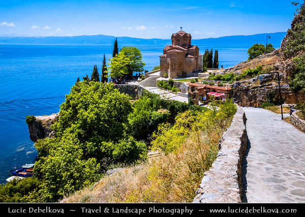 Europe - Macedonia - Church of St. John at Kaneo - Saint John the Theologian, Kaneo -  Свети Јован Канео - Sveti Jovan Kaneo - Saint John at Kaneo - Macedonian Orthodox church situated on cliff over Kaneo Beach overlooking Lake Ohrid in Ohrid city - One of most popular tourist destinations in Macedonia