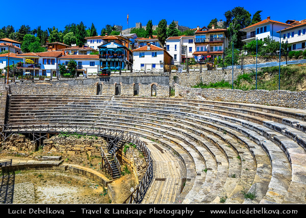 Europe - Macedonia - Ohrid - Historical town on shores of Lake Ohrid (Охридско Езеро, Ohridsko Ezero) - UNESCO Cultural & Natural World Heritage Site - Ancient theatre of Ohrid from Hellenistic period
