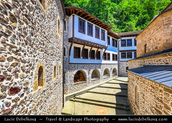 Europe - Macedonia - Mavrovo National Park - Национален парк Маврово - Monastery of Saint Jovan Bigorski - Свети Јован Бигорски - St. John the Baptist Bigorski Monastery - Macedonian Orthodox 19th century monastery standing on slopes of Debar's Bistra Mountain