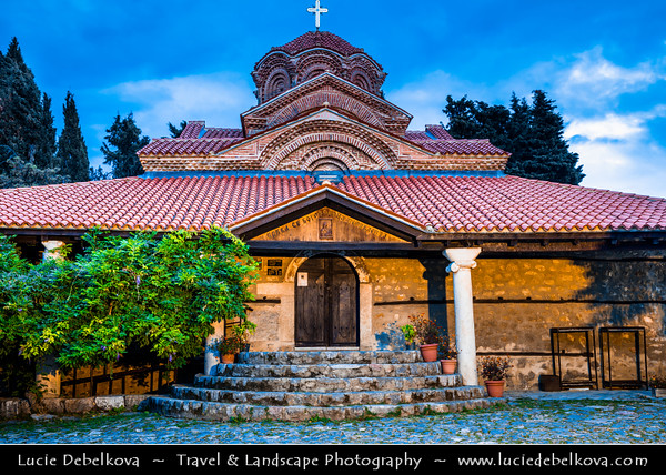Europe - Macedonia - Ohrid - Historical town on shores of Lake Ohrid (Охридско Езеро, Ohridsko Ezero) - UNESCO Cultural & Natural World Heritage Site - Old Town - Holy Mary Perybleptos Church - Holy Mother of God Peribleptos Church - Traditional Eastern Orthodox monastery & One of oldest churches in historic town