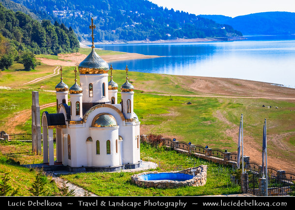 Europe - Macedonia - Mavrovo National Park - Национален парк Маврово - Mavrovo Lake - Мавровско Езеро - Mavrovsko ezero - Russian church