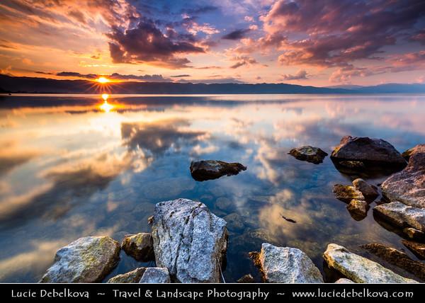 Europe - Macedonia - Ohrid Lake - Охридско Езеро - Ohridsko Ezero - UNESCO Natural World Heritage Site - One of Europe's deepest & oldest lakes preserving unique aquatic ecosystem - Dramatic Sunset