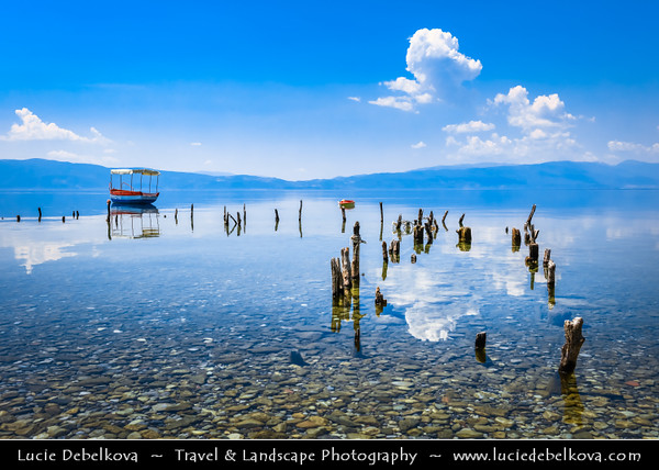 Europe - Macedonia - Ohrid Lake - Охридско Езеро - Ohridsko Ezero - UNESCO World Heritage Site - One of Europe's deepest & oldest lakes - Largest & most beautiful out of Macedonia's three tectonic lakes - Peštani - Peshtani - Popular beachside town along Lake Ohrid at foot of Galičica National Park