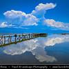 Europe - Macedonia - Galičica National Park - Great Prespa Lake - Liqeni i Prespës - Преспанско Езеро - Prespansko Ezero - UNESCO Biosphere Reserve - Tectonic freshwater lake standing at elevation of 853 m (2,798 ft) - Lake Pier with wonderfully reflecting clouds