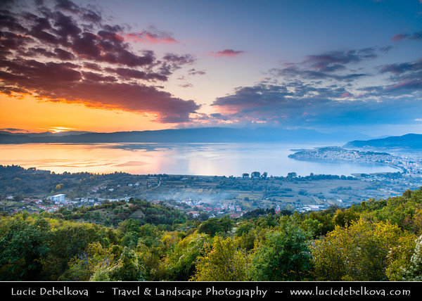 Europe - Macedonia - Ohrid - Historical town on shores of Lake Ohrid (Охридско Езеро, Ohridsko Ezero) - UNESCO Cultural & Natural World Heritage Site - Old Town Skyline viewed from mountain viewpoint