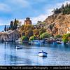 Europe - Macedonia - Ohrid - Historical town on shores of Lake Ohrid (Охридско Езеро, Ohridsko Ezero) - UNESCO Cultural & Natural World Heritage Site - Old Town - Church of St. John at Kaneo - Saint John the Theologian, Kaneo -  Свети Јован Канео - Sveti Jovan Kaneo - Saint John at Kaneo - Macedonian Orthodox church situated on cliff over Kaneo Beach overlooking Lake Ohrid in Ohrid city - One of most popular tourist destinations in Macedonia