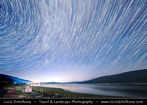 Europe - Macedonia - Mavrovo National Park - Национален парк Маврово - Mavrovo Lake - Мавровско Езеро - Mavrovsko ezero -  Night with Stars & Milky Way - Startrails - Star-trails