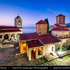 Europe - Macedonia - Monastery of Saint Naum - Манастир Свети Наум - Sveti Naum - Traditional Eastern Orthodox monastery on shores of Lake Ohrid - One of most popular tourist destinations in Macedonia - Dusk - Twilight - Blue Hour - Night