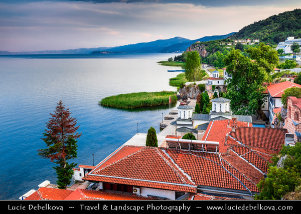Europe - Macedonia - Ohrid Lake - Охридско Езеро - Ohridsko Ezero - UNESCO World Heritage Site - One of Europe's deepest & oldest lakes - Largest & most beautiful out of Macedonia's three tectonic lakes - Kališta - Kalishta - Манастир Калишта - Kalista monastery complex - Holy Mother of God - Macedonian Orthodox Church located in beautiful natural rocky environment on western edge of Lake Ohrid