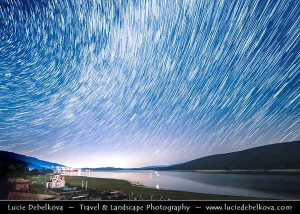 Europe - Macedonia - Mavrovo National Park - Национален парк Маврово - Mavrovo Lake - Мавровско Езеро - Mavrovsko ezero -  Night with Stars & Milky Way - Startrails - Star-trails